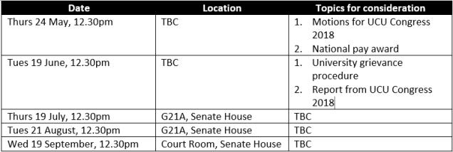 Upcoming meetings 1605-2